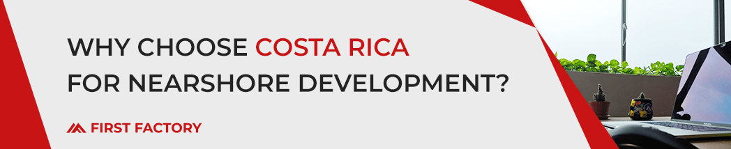 """Red and gray blog banner that reads, """"Why Choose Costa Rica for Nearshore Development?"""""""